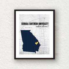 READY TO SHIP - Georgia Southern -  Georgia Southern eagles decor - 8x10 Georgia Southern print. $15.00, via Etsy.