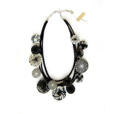 Statement Fabric Necklace Black White Necklace by LENNYshop