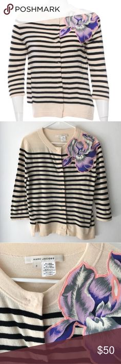 Marc Jacobs striped flower appliqué cardigan Black and cream striped cardigan with a vibrant colored applique flower on left hand shoulder. Covered buttons down front. Worn once, in excellent used condition. 80% wool, 20% cashmere Marc Jacobs Sweaters Cardigans