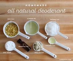 Diy Deodorant, All Natural Deodorant, Home Made Deodorant Recipes, Baking Soda Deodorant, Essential Oil Deodorant, Natural Shampoo, Coconut Oil Deodorant, Make Your Own Deodorant, Natural Toothpaste