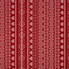 Red Christmas Nordic Hearts And Snowflakes Oilcloth Wipe Clean Tablecloth