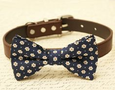 Navy dog bow tie - Pet Wedding accessory, some thing blue, Navy wedding, Brown dog collar,Floral bow tie, Navy Orange dog bow tie