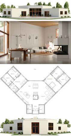 plan de maison en U contemporaine AMAZONE ciel   Plan maison en u, Plan maison, Maisons en u