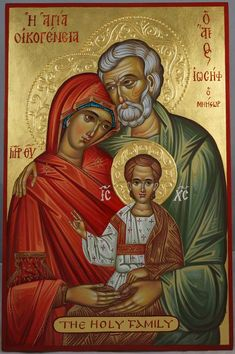High quality hand-painted Orthodox icon of The Holy Family (halo relief). BlessedMart offers Religious icons in old Byzantine, Greek, Russian and Catholic style. Religious Icons, Religious Images, Religious Art, Byzantine Icons, Byzantine Art, Paint Icon, Christian Artwork, Religion Catolica, Catholic Art