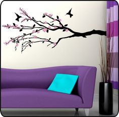 Cherry Blossom Tree Branch Vinyl Wall Decal Sticker w Hummingbird. $34.50, via Etsy.