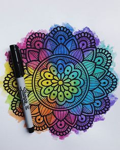 Mandala Art, Mandala Doodle, Mandala Drawing, Doodle Art Drawing, Painting & Drawing, Arte Sharpie, Dibujos Zentangle Art, Z Arts, Art Graphique