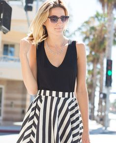 Black & White Stripes + Silver Triangle Necklace