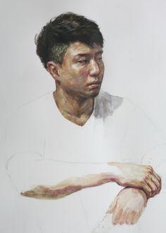Watercolor Portraits, Watercolor Art, Portrait Paintings, Figure Drawing, Painting & Drawing, Art Poses, Ap Art, Human Art, Sculptures