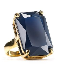 kate spade new york - Treasure Chest Ring - midnight-hued ring - gold-plated brass/glass