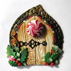 Peppermint Candy Elf Door, Pixie Portal , Miniature Fairy Door for the Holidays, Polymer Clay Christmas Wall Decor by Claybykim on Etsy