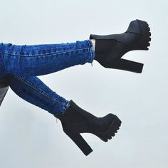 black ankle boots on a high steady thick heel Thick Heels, Black High Heels, Black Ankle Boots, High Heel Boots, Heeled Boots, Shoe Boots, Shoes Heels, Black Booties, Ankle Booties