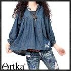 Artka*loose comfy pleats denim blouse SN13435C