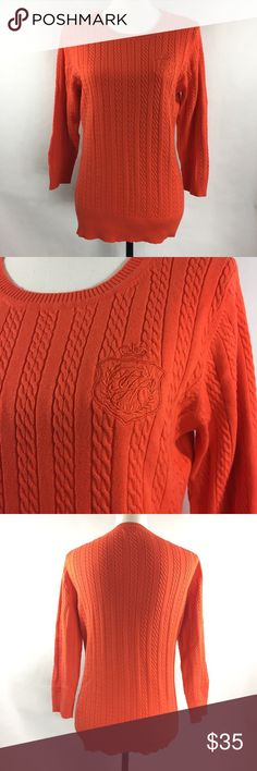 Tommy Hilfiger XL Orange Sweater Gently used. Great for the work place to keep warm. There is an embroidered logo on the front. Sweater length 26 inches armpit to armpit 9 inches - shipping is 1 business day. : 055 Tommy Hilfiger Sweaters