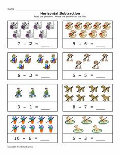 Free Math Worksheets, Subtraction Differences 0-10, Horizontal - 19,000+ FREE Worksheets Calendar Worksheets, Free Worksheets, Preschool Math, Preschool Worksheets, Math Games, Math Activities, Nursing Printables, Daily 5 Math, Subtraction Worksheets