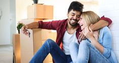 Happy couple after moving in photo by on Envato Elements Young Couples, Healthy Life, Beautiful Women, Romantic, Stock Photos, Couple Photos, Fitness, Happy, Cardboard Boxes