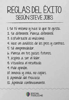 Reglas del Exito  Steve Jobs #hacerladiferencia #exito #disfrutarlavida