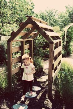 Kids Garden Structures. Or a little kids herb gardn area. Something for them where they can have fun & get involved in the garden.