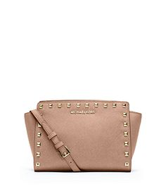 3f8b56470e13 Selma Medium Studded Saffiano Leather Messenger by Michael Kors Studded  Leather