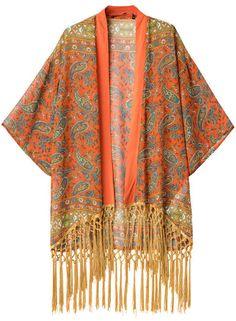 Orange Cashews Print Tassel Loose Kimono 21.00