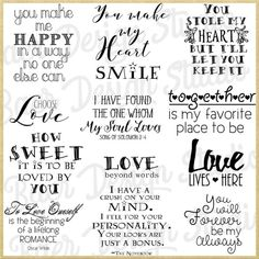 LOVE QUOTES- Instant download INCLUDED IN LISITNG: 19 png images, 300 dpi, between 3-8 inches, can be re-sized and re-colored. These quotes can be used for wedding stationery, planner stickers, Valentines day projects, cards, bible journaling, invitations, canvas, instagram,