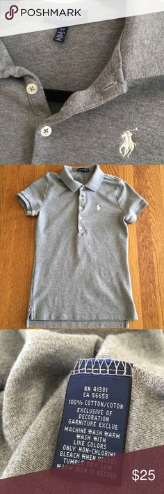 Small S/P Ralph Lauren gray soft fitted polo shirt This is not the dry stiff style, this is the thicker very soft cotton. Please note it is the tiny fitted ladies cut style.Size small smoke free home. Always hung to dry. Please ask all questions prior to purchase as all sales are final, no returns. Ralph Lauren Ladies Polo size small Ralph Lauren Tops Tees - Short Sleeve