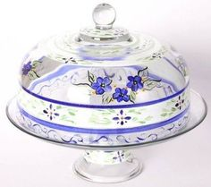 """Blue Floral Hand Painted Glass Large Convertible Cake Dome 11"""""""