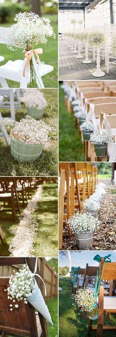baby's breath wedding ceremony aisle decoration ideas