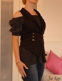 repurposing an old man's shirt into an off the shoulder blouse -- interesting...