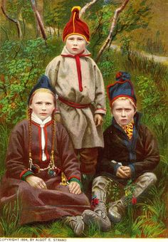 Swedish Sami children from Lapland. Published 1894. Made by Algot E. Strand after photography