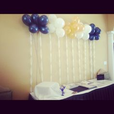 Graduation decorations - and this can be done early because the balloons don't need helium