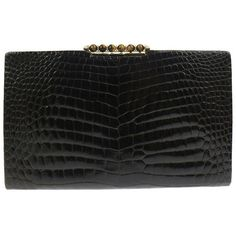 Preowned Gucci Vintage Crocodile Skin Leather Gold Evening Envelope... ($2,925) ❤ liked on Polyvore featuring bags, handbags, clutches, black, gold evening clutches, gold evening purse, envelope clutch, gucci purse and evening handbags