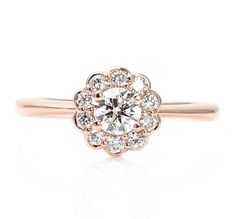 Rose Gold Diamond Engagement Ring Halo Cluster 14K Custom Engagement Ring Bridal Jewelry. LOVE IT!