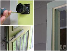 Attaching an antique door handle onto a screen door.