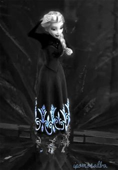 Elsa's transformation in black and white. if you don't have this on your board, you're not human!