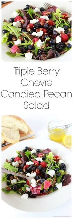 Triple Berry, Chevre, Candied Pecan Salad- a fruity, healthy, delightful lunch or dinner! Winter Salad Recipes, Chopped Salad Recipes, Best Salad Recipes, Chicken Salad Recipes, Healthy Recipes, Baby Recipes, Healthy Dinners, Healthy Chicken, Amazing Recipes