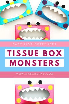 You can turn empty tissue boxes into these fun monsters with your kids as an awesome indoor kids craft project idea. Super easy and quick to make, plus it is also a creative art project, your kids will love decorating the monsters with their own artistic touch! #monstercrafts #craftsforkids #craftykids #indoorcraftsforkids #indooractivities Cute Kids Crafts, Craft Projects For Kids, Toddler Crafts, Diy For Kids, Indoor Activities For Kids, Toddler Activities, Monster Crafts, Crafty Kids, Tissue Boxes