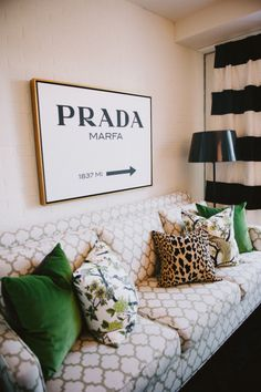 Meredith Heron's Office - love the couch and the mixed print pillows!  Design by: La Balise Interiors LLC