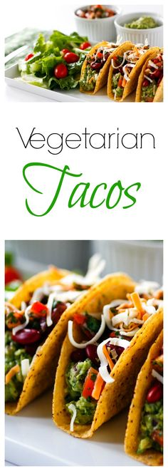 Vegetarian Tacos - Vegetarian Tacos with lots of guacamole, red bean, corn, and pico de gallo and cheese , these veget - Top Recipes, Mexican Food Recipes, Ethnic Recipes, Sweets Recipes, Vegetarian Tacos, Vegetarian Recipes, Good Food, Yummy Food, Yummy Treats
