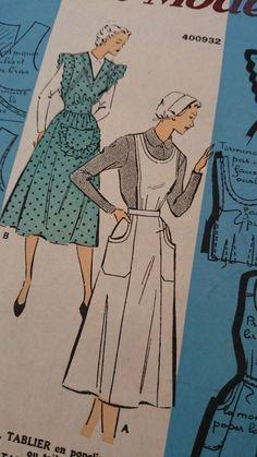 1940S FRENCH APRON TABLIER PATTERN PATRON MODELE UK 16 USA 14 Vintage Apron Pattern, Apron Patterns, Aprons Vintage, Sewing Patterns, Apron Sewing, 1940s, Vintage Fashion, French, Usa