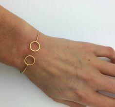 """Bracelet jonc doré """"Cercles"""" manchette tendance épurée"""
