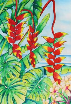 Choose your favorite heliconia paintings from millions of available designs. All heliconia paintings ship within 48 hours and include a money-back guarantee. Watercolor Flowers, Watercolor Paintings, Tropical Artwork, Hawaiian Art, Caribbean Art, Mosaic Flowers, Guache, Plant Art, Silk Painting
