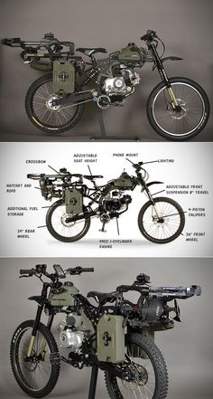 Überlebensrad - Survival Skills, Gear & Tips - Fahrrad Custom Motorcycles, Custom Bikes, Cars And Motorcycles, Survival Skills, Survival Gear, Dh Velo, Motorised Bike, Bike Engine, Bug Out Vehicle