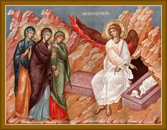 Orthodox Christian Network - The Myrrh-Bearing Women arrive at the empty Tomb By Pemptousia Partnership Religious Icons, Religious Art, Empty Tomb, Wedding To Do List, Christ Is Risen, Russian Icons, Vides, Byzantine Icons, Biblical Art