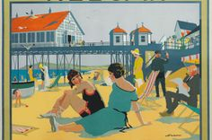 illustration UK : Henry George Gawthorn, affiche de tourisme, Redcar, London and North Eastern Railway, plage Posters Uk, Train Posters, Railway Posters, Poster Prints, Art Prints, British Travel, British Seaside, Poster Vintage, Vintage Travel Posters