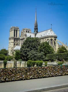 Here you can see the famous Notre Dame de Paris taken from the Pont de l'Archeveche, showing just how close the love lock bridge is to the cathedral.  See more www.eutouring.com/images_pont_de_l_archeveche.html