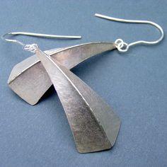 One fold silver earrings   Contemporary Earrings by contemporary jewellery designer Debbie Long