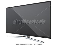 Perspective view of TV or computer PC monitor display led or lcd, isolated on white background 3d render.