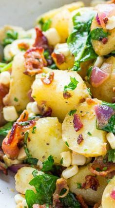 Bacon Potato Salad ~ This isn't your grandma's potato salad, not even close... There's bacon which makes it an instant crowd pleaser and there's no mayo so it feels lighter.