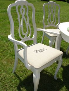 shabby chic chair with Paris motif on the seat