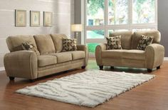 Rubin 3Pcs Sofa Set 9734BR for $1019  (Sofa,Love Seat,Chair)  With base design elements that touch retro styling, the Rubin Collection is a perfect option for your modern home. Light brown or chocolate Champion microfiber allows for versatile placement in a number of living room d cor themes. Coordinating toss pillows compliment the clean look of the collection.  Features:  Rubin Collection Contemporary Style Light Brown Color Textured Plush Microfiber Cover Dimensions:  Sofa : 84.25 x 36 x…